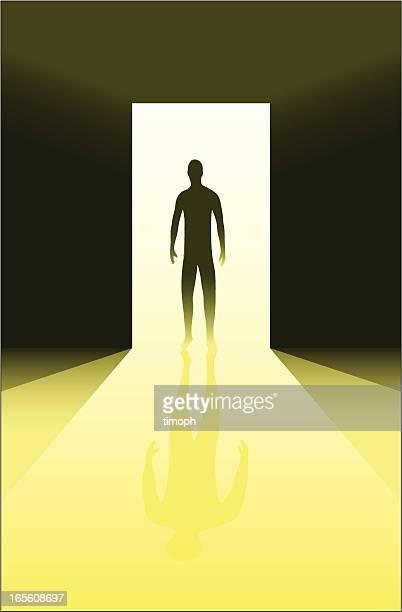 Figure in doorway yellow