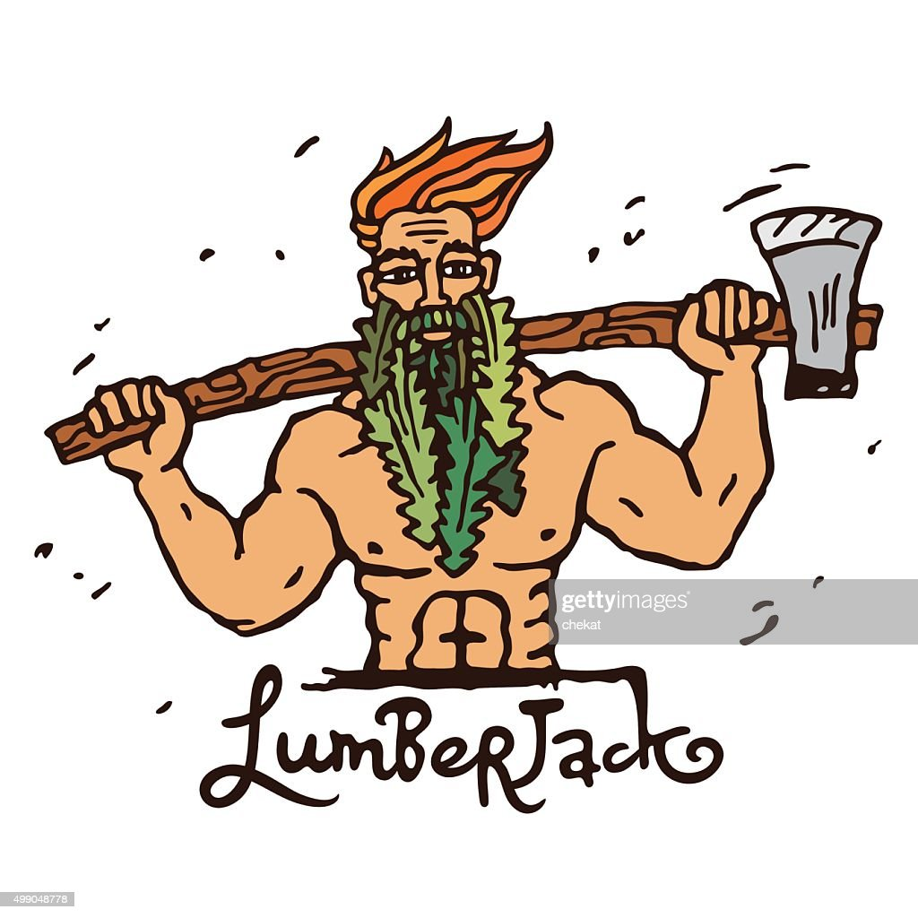 Figure lumberjack with an ax on his shoulders.