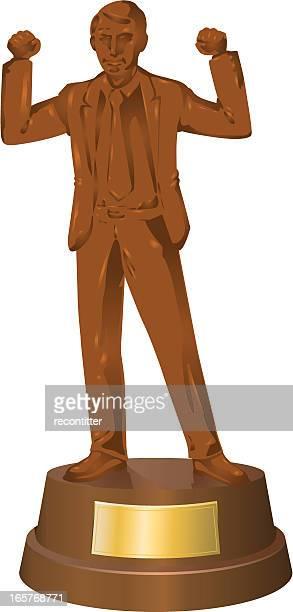 figure of businessman in bronze - success - bas relief stock illustrations