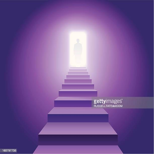 figure on the stairs - heaven stock illustrations