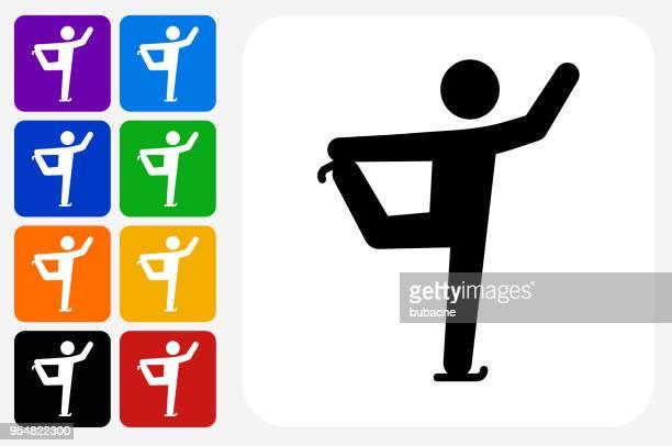 フィギュア スケート アイコン広場ボタン セット
