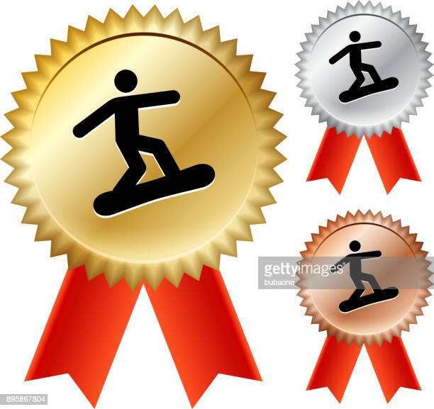 figure snowboarding gold medal prize ribbons - winter sports event stock illustrations