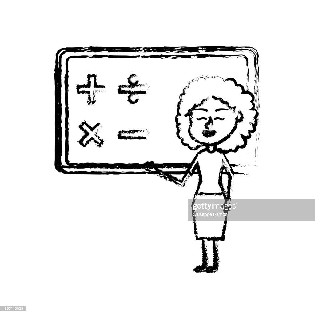 figure woman teacher teaching to the student in the blackboard