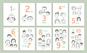 Figures. Learn to count. Set with different funny faces.Vector.