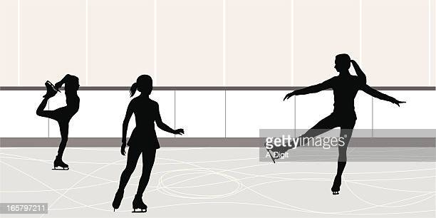 figures vector silhouette - figure skating stock illustrations