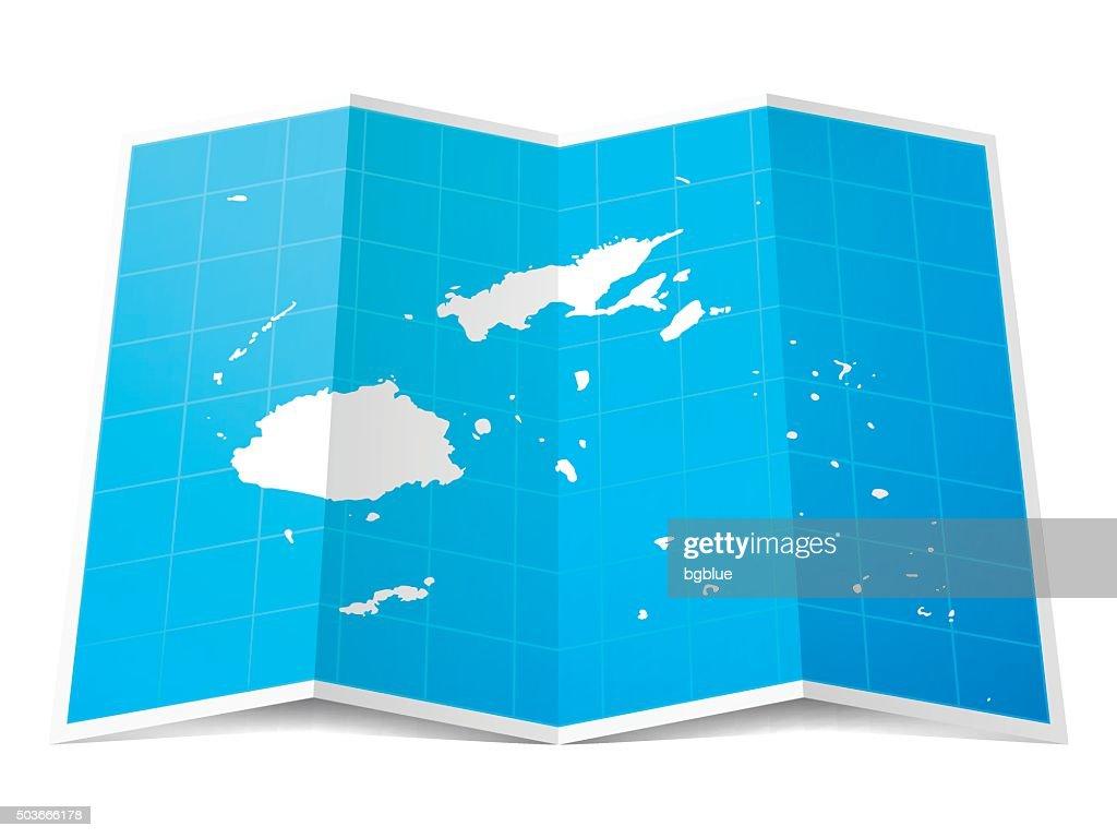 Fiji Karte Gefalteten Isolierten Auf Weißen Hintergrund ...