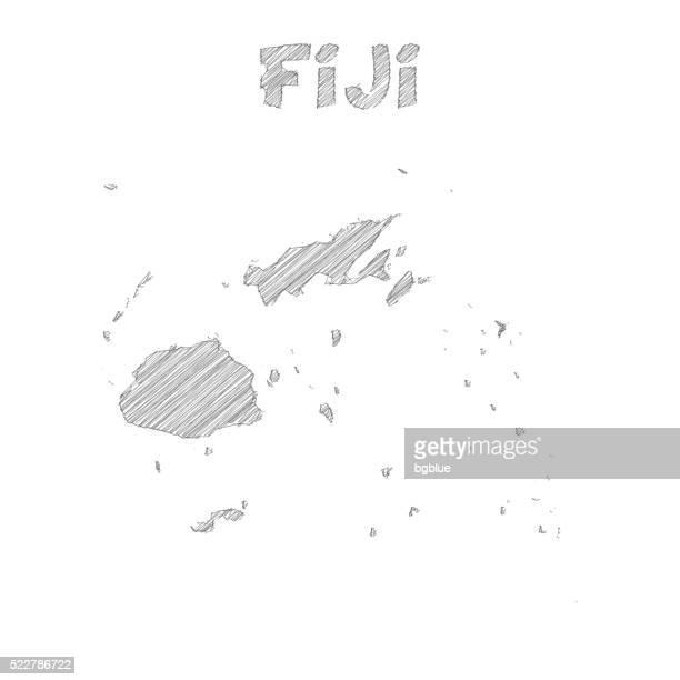 Fiji map hand drawn on white background