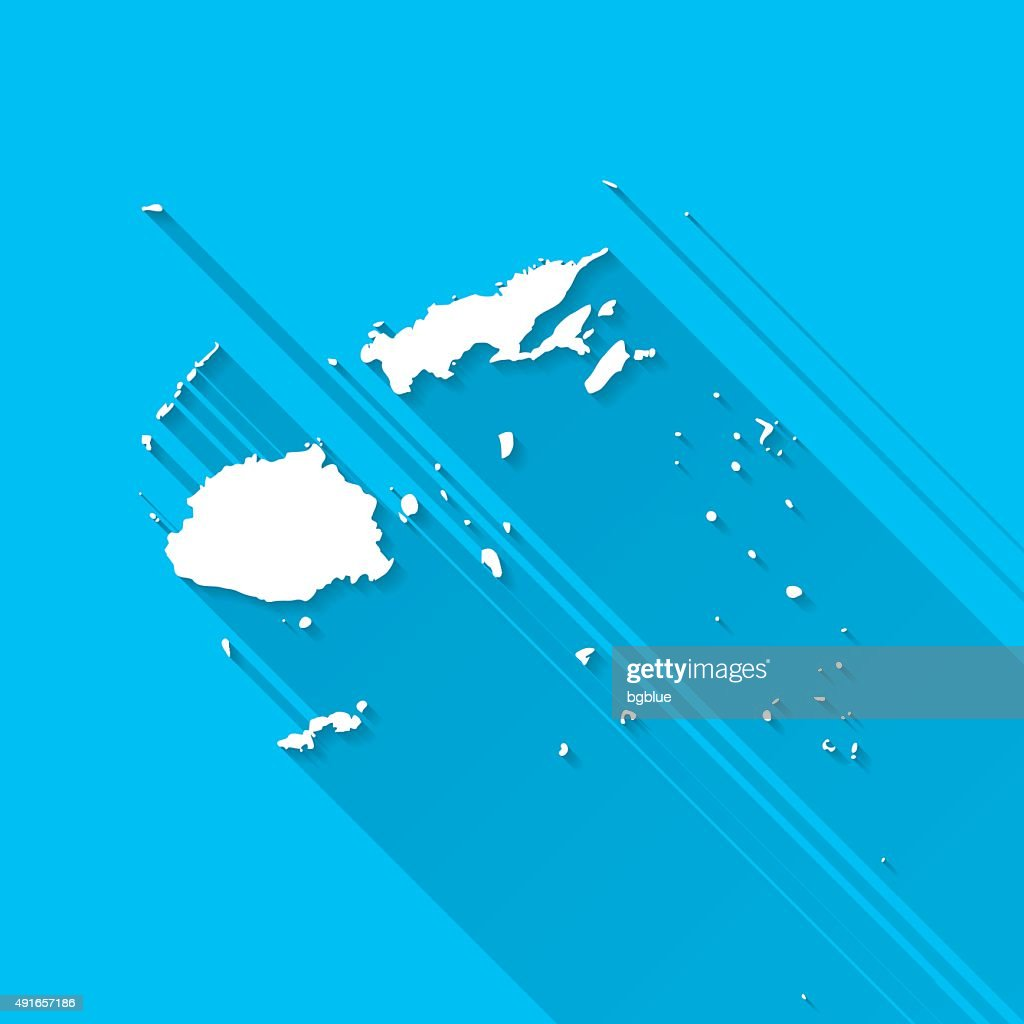 Fiji Map On Blue Background Long Shadow Flat Design High Res