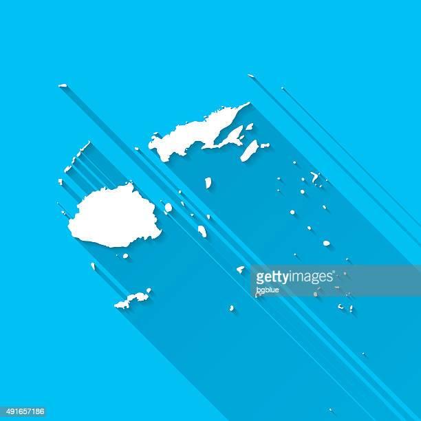 Fiji Map on Blue Background, Long Shadow, Flat Design