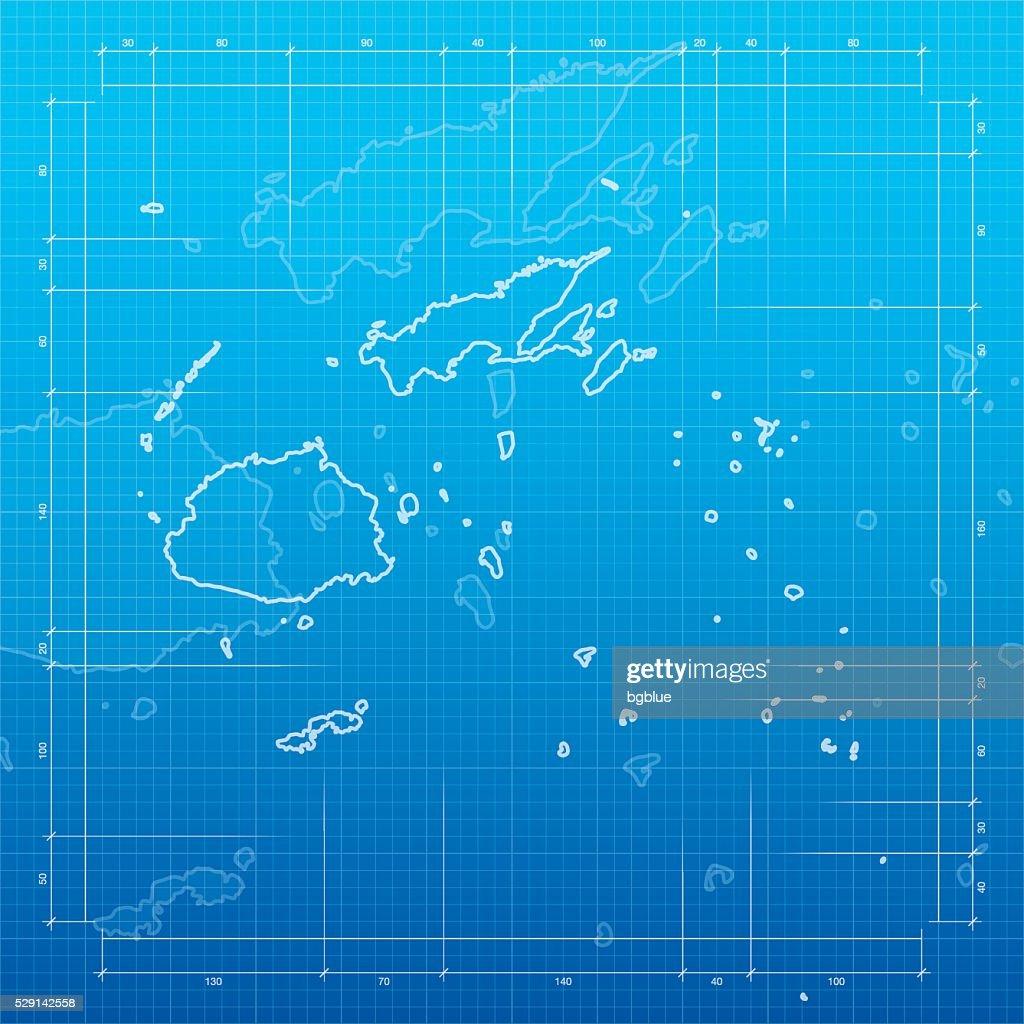 Fiji map on blueprint background vector art getty images fiji map on blueprint background vector art malvernweather Images