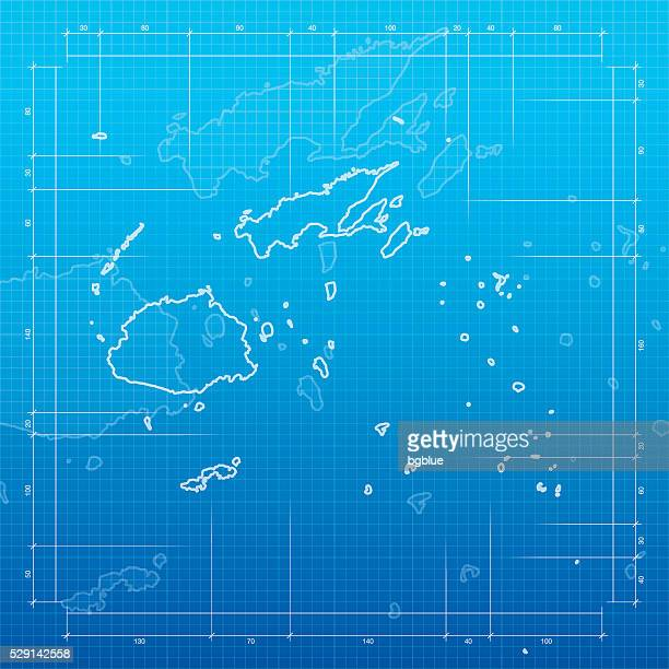 Fiji map on blueprint background
