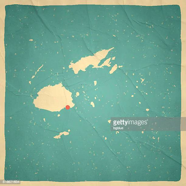 Fiji Map on old paper - vintage texture