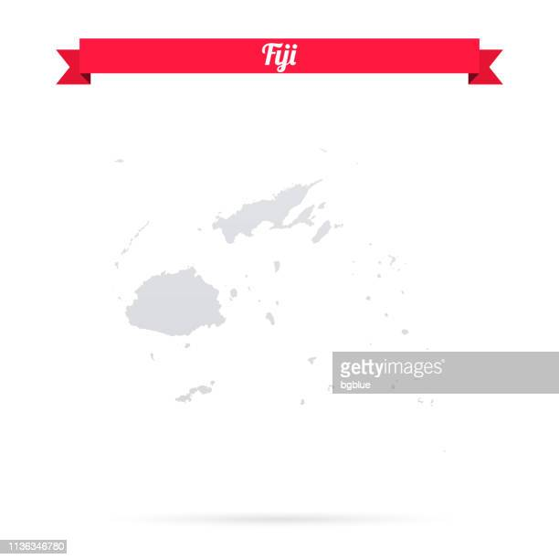 fiji map on white background with red banner - fiji stock illustrations