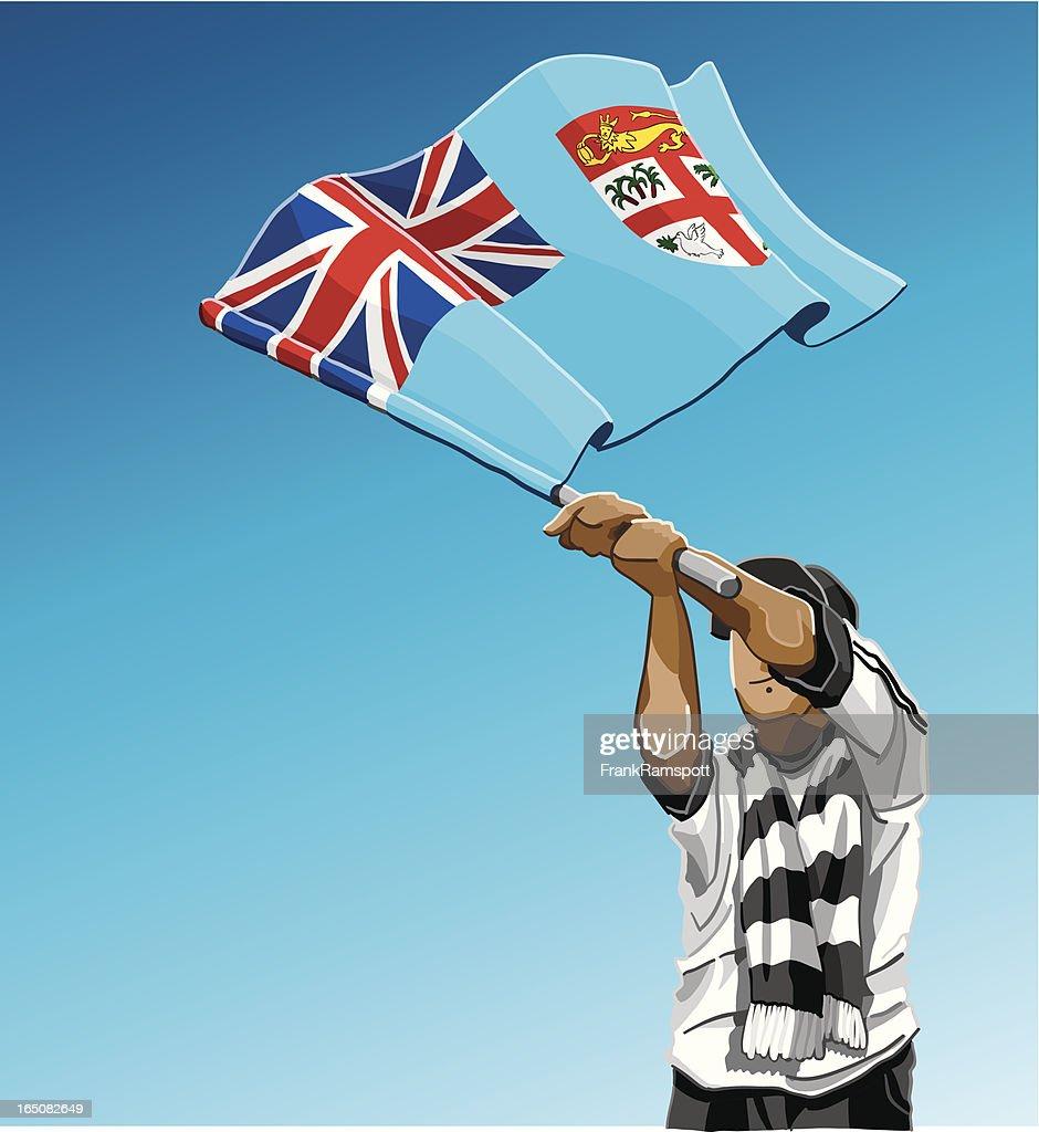 Fiji winken Flagge Fußball-Fan : Stock-Illustration