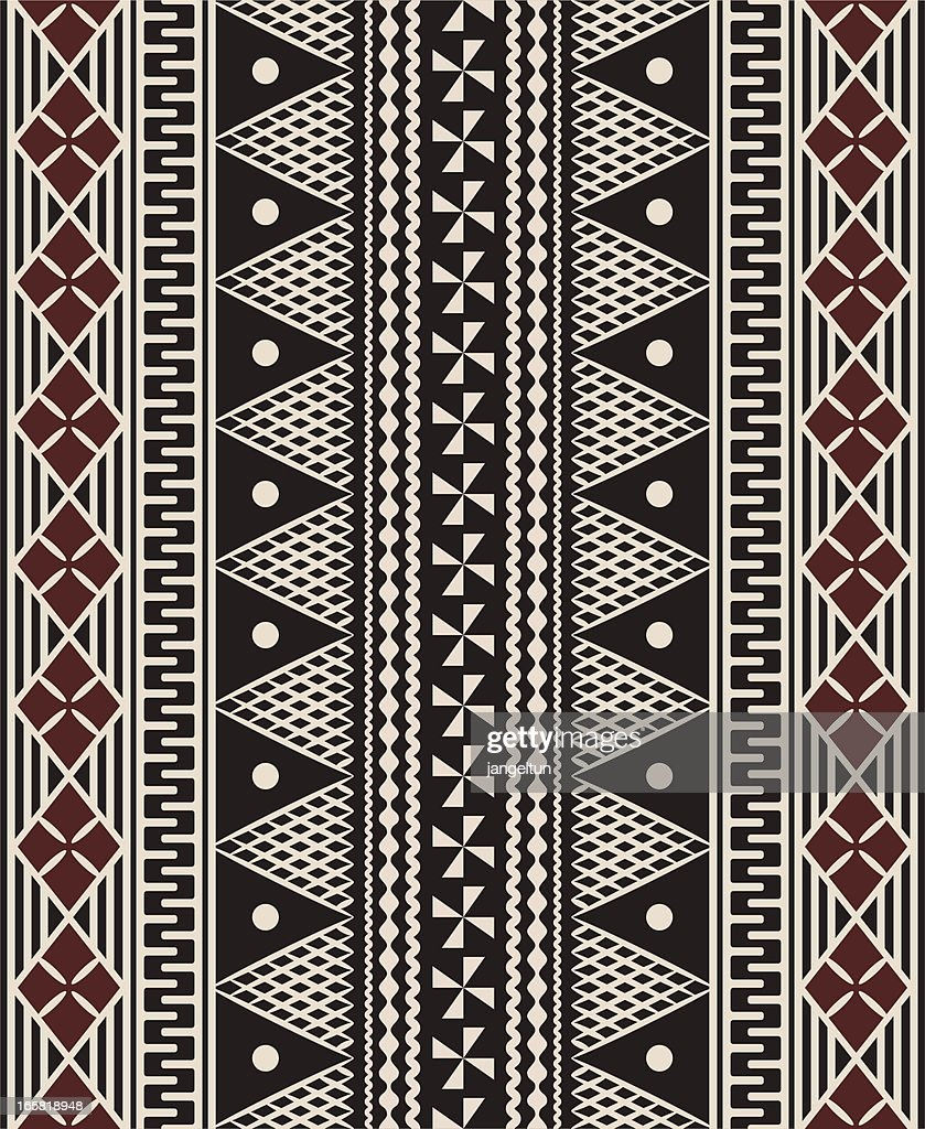 Fijian tapa pattern : stock illustration