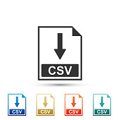 CSV file document icon. Download CSV button icon isolated on white background. Set elements in colored icons. Flat design. Vector Illustration