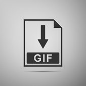 GIF file document icon. Download GIF button icon isolated on grey background. Flat design. Vector Illustration