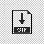 GIF file document icon. Download GIF button icon isolated on transparent background. Flat design. Vector Illustration
