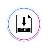 GIF file document icon. Download GIF button icon isolated on white background. Circle white button. Vector Illustration