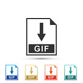 GIF file document icon. Download GIF button icon isolated on white background. Set elements in colored icons. Flat design. Vector Illustration