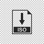 ISO file document icon. Download ISO button icon isolated on transparent background. Flat design. Vector Illustration
