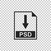 PSD file document icon. Download PSD button icon isolated on transparent background. Flat design. Vector Illustration
