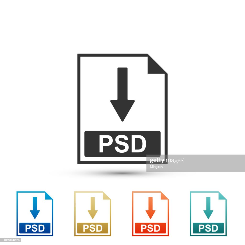 PSD file document icon. Download PSD button icon isolated on white background. Set elements in colored icons. Flat design. Vector Illustration