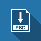 PSD file document icon. Download PSD button icon isolated with long shadow. Flat design. Vector Illustration
