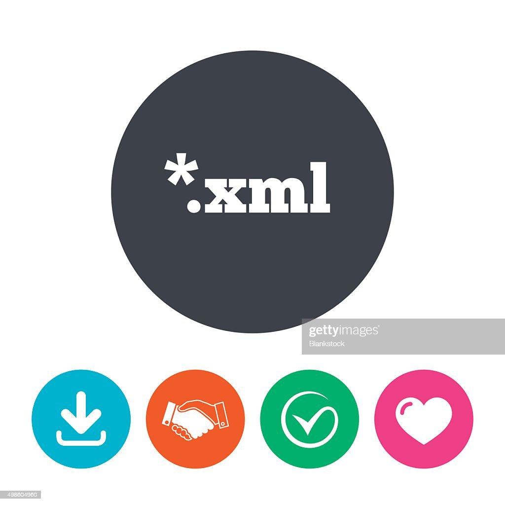 File document icon. Download XML button