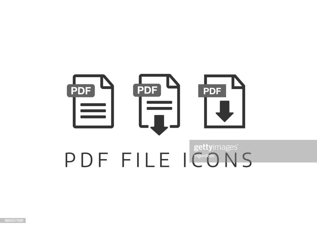 PDF File download icon. Document text, symbol web format information. Document icon set