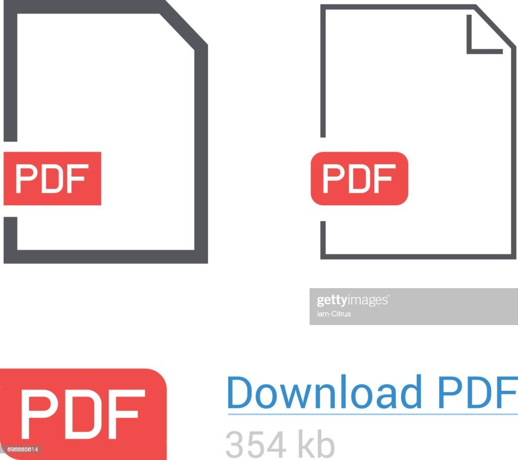 PDF file download icon set. Document symbol. Flat style.