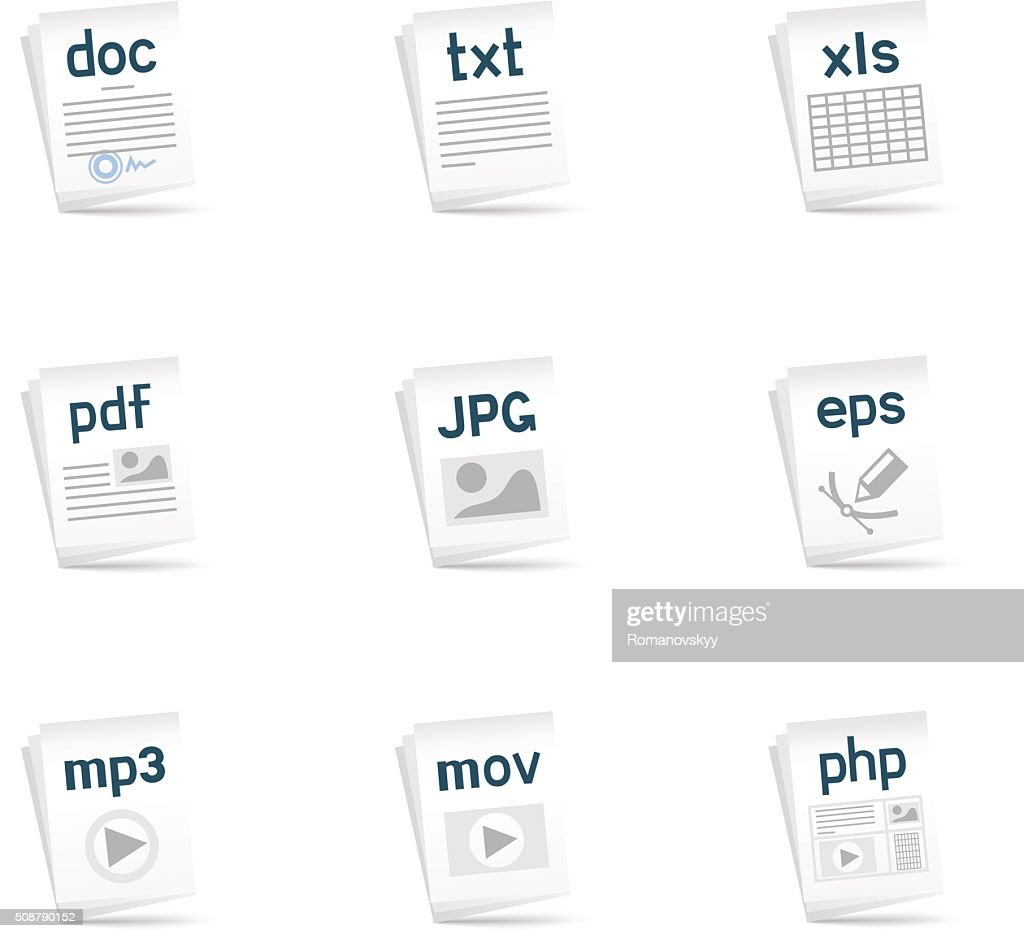 file extension icons vector art getty images