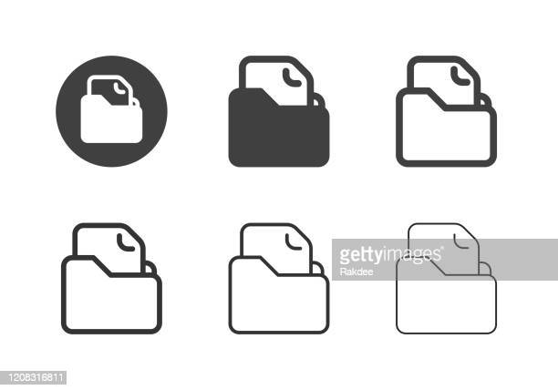 file folder icons - multi series - paperboard stock illustrations