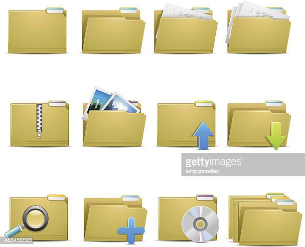 file folder icons - printout stock illustrations