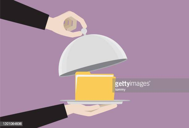 file folder in a food cloche - convenience stock illustrations