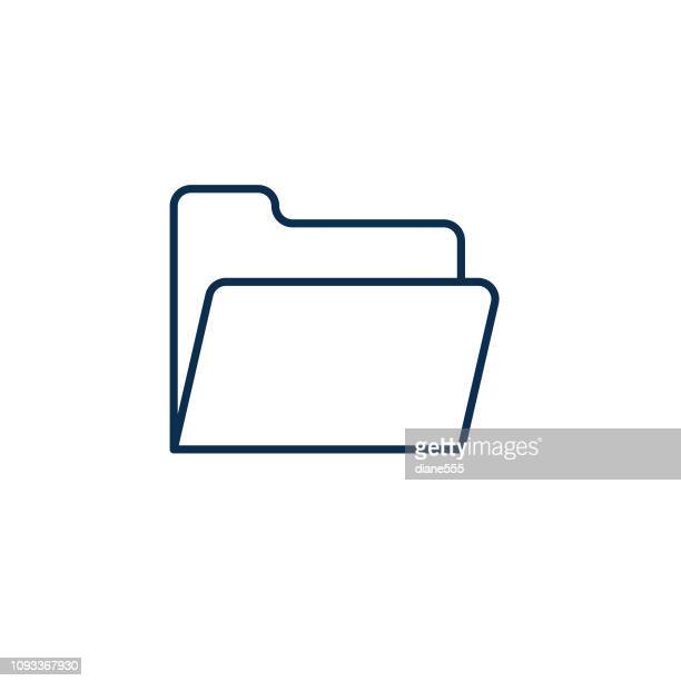 file folder webpage user interface icon in thin line style - file stock illustrations