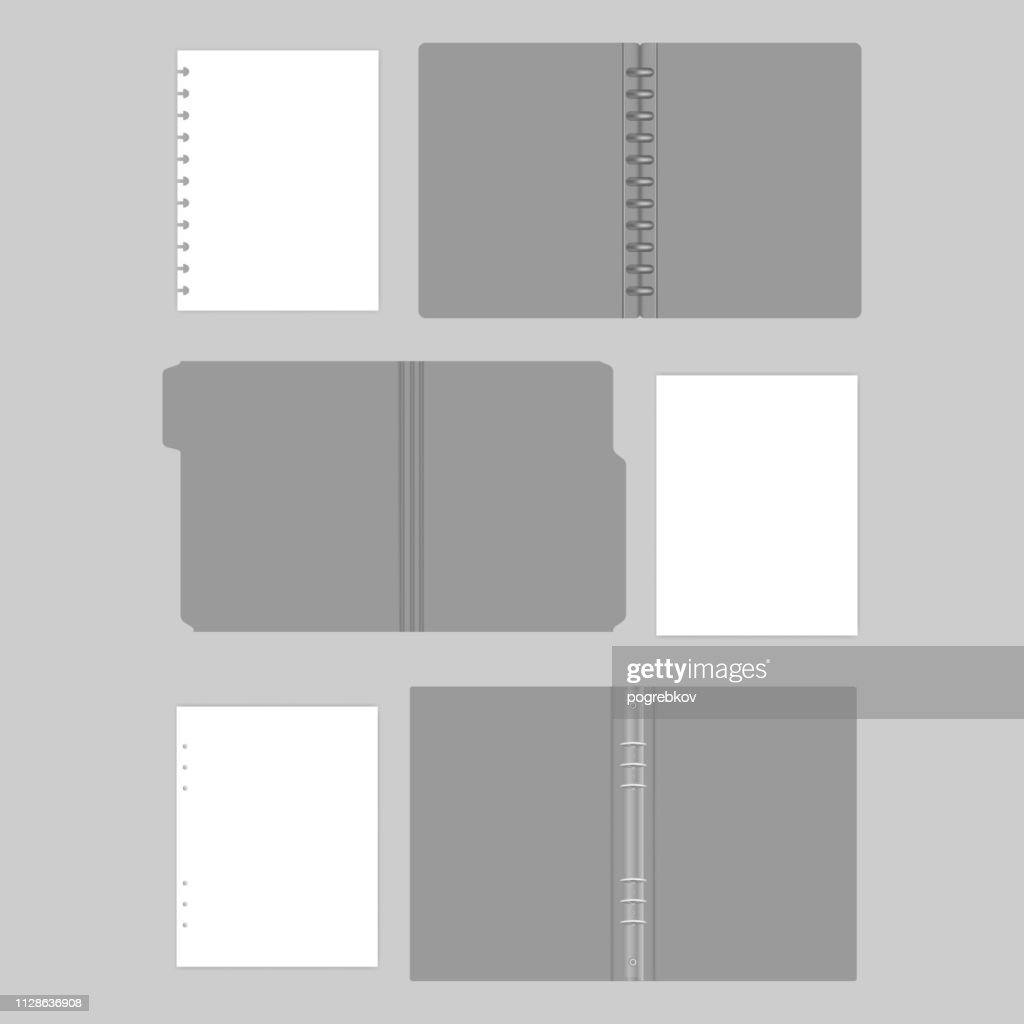 File folder with cut tab, disc and ring binder folders with filler paper