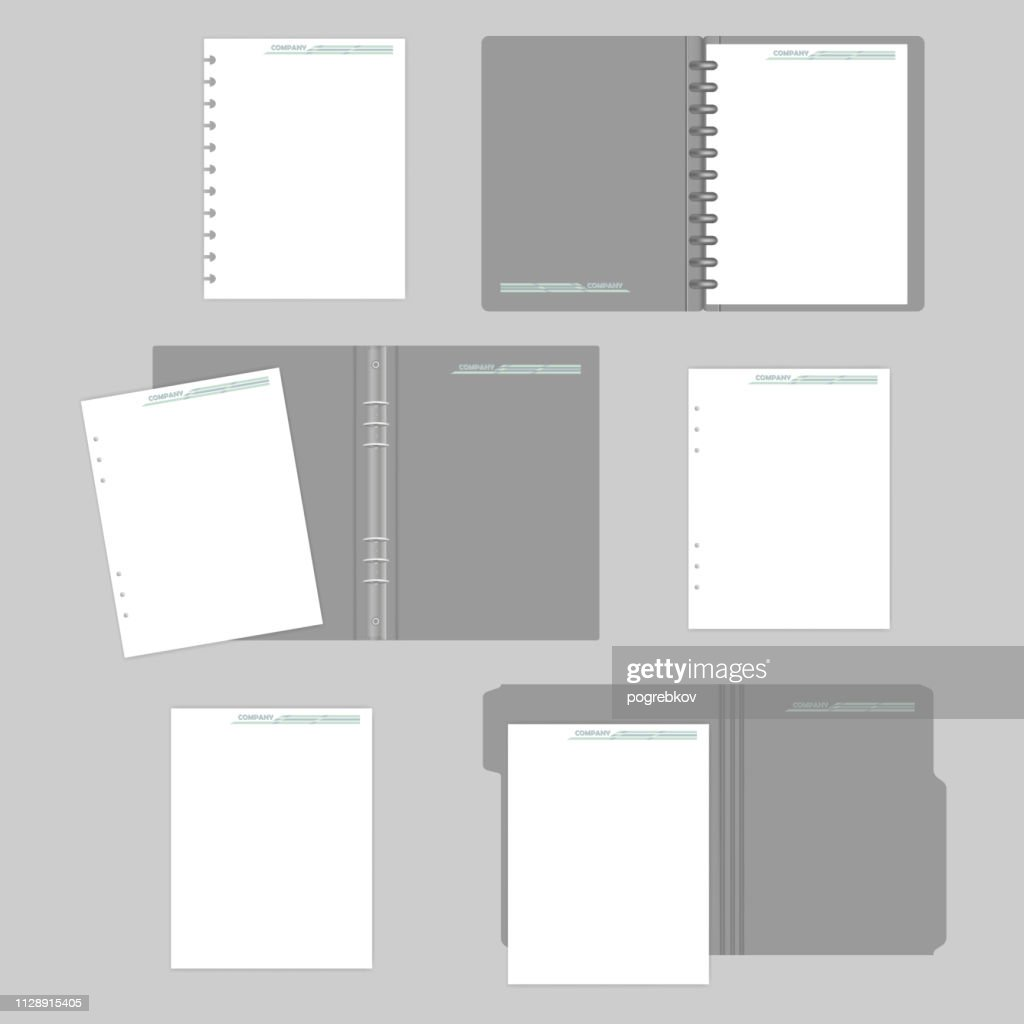 File folder with cut tab, disc and ring binders with filler paper - mockup