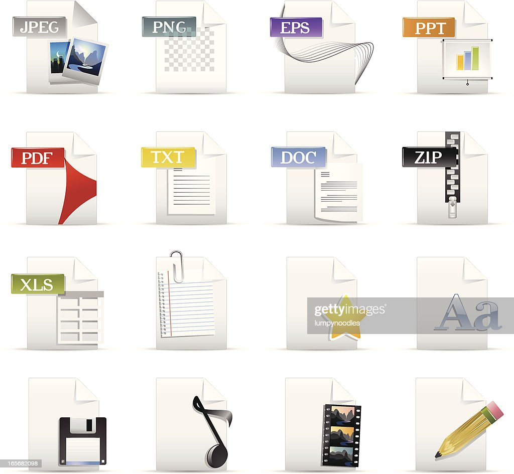 File Format and Document Icons : stock illustration