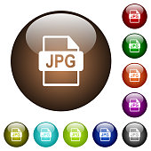 JPG file format color glass buttons