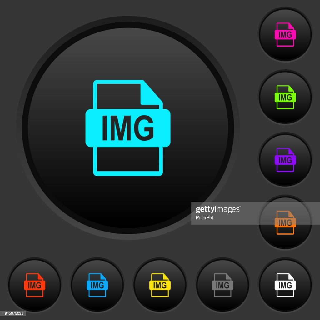 IMG file format dark push buttons with color icons