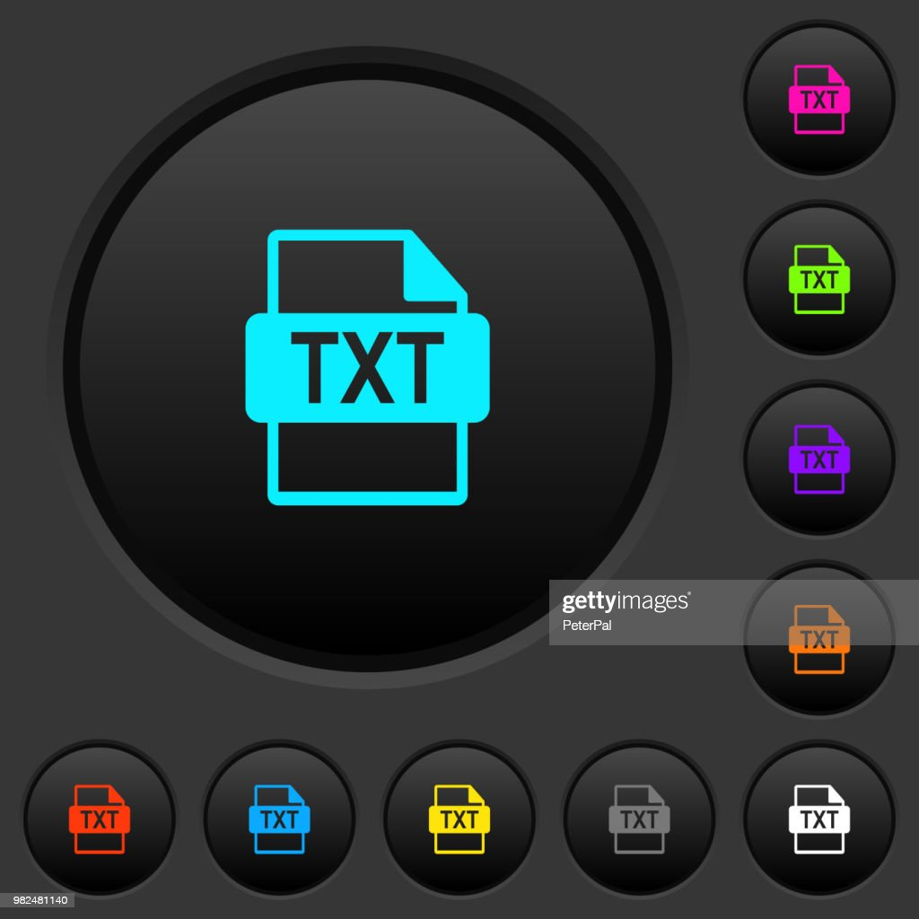 TXT file format dark push buttons with color icons