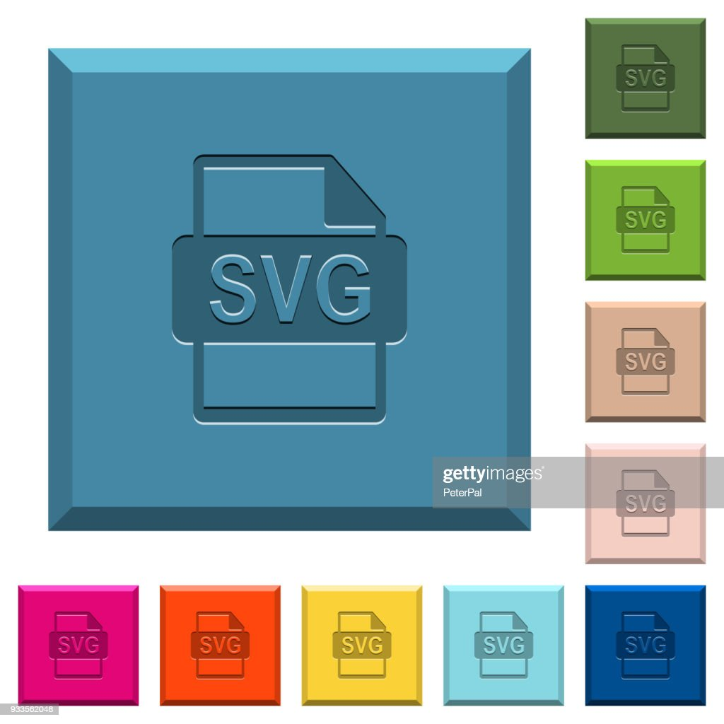 SVG file format engraved icons on edged square buttons