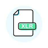 XLR file format, extension color line icon