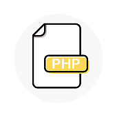 PHP file format, extension color line icon