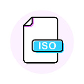 ISO file format, extension color line icon
