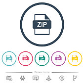 ZIP file format flat color icons in round outlines