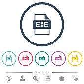 EXE file format flat color icons in round outlines