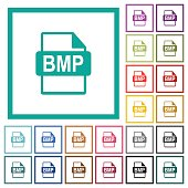 BMP file format flat color icons with quadrant frames