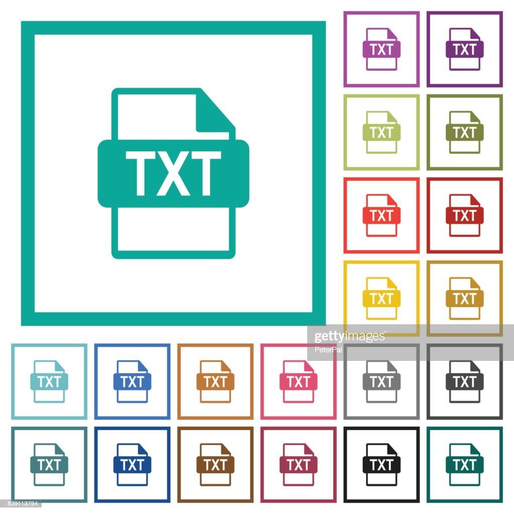 TXT file format flat color icons with quadrant frames
